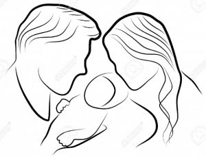Line drawing of father, mother and child